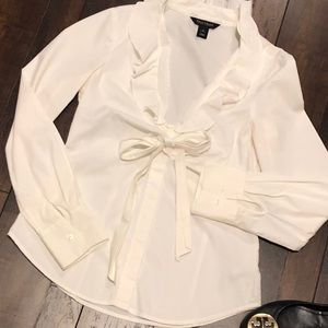 White House Black Market white Long sleeve blouse